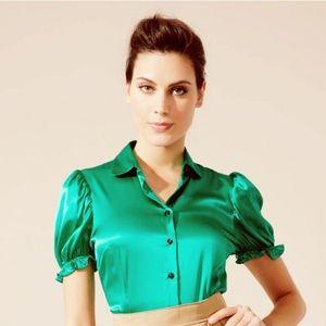 💗D&G PALE PINK silk princess sleeve blouse